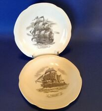 2 Sailing Ship Collector Plates - Home Lines Cruise Souvenir - Black And White