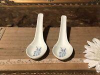 2 Asian Porcelain Spoon Blue & White Floral Design