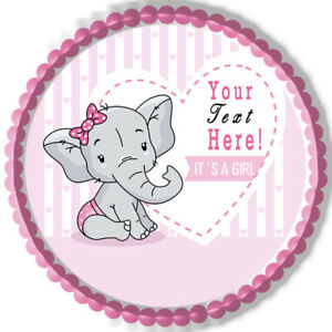 It's a Girl Elephant Baby Shower - Edible Cake Topper or Cupcake Topper