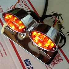 Tail Brake License Plate light Universal Cat Eye Custom Motorcycle Chrome+Red
