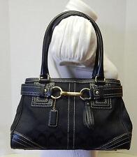 Coach Hampton 10507 Signature Black Jacquard Satchel Handbag Shoulder Bag Purse