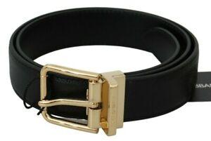 DOLCE & GABBANA Belt Solid Black Leather Gold Logo Buckle 75cm / 3