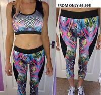NEW Ladies Active Wear Gym Yoga Outfit Leggings & Top Running Pink Size 10 12 14