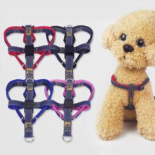 AM_ 3Pcs/set Elastic Pet Dog Puppy Denim Leash Chest Strap Collar Walking Rope M