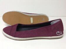05262855982a Lacoste Marthe Paris Women s Slip On Flat Canvas Shoes Wine Sz 9.5 SHIPS  FREE