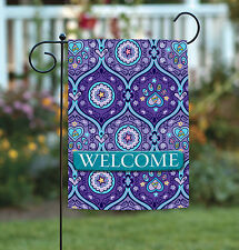 Toland Purple Paws Welcome 12.5 x 18 Puppy Dog Kitty Cat Paw Garden Flag