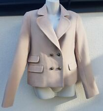 WOMEN'S WHISTLES JACKET SZ 12 UK PALE PINK CROPPED DOUBLE BREASTED WOOL MIX