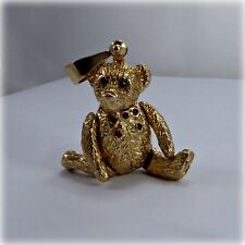 9ct Gold Moveable Teddy Bear Pendant, with Sapphire Eyes & Ruby Buttons