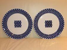 Vintage Pair of Sargadelos Spain Porcelain Geometric Design Dinner Plates