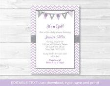 Purple & Grey Chevron Printable Baby Shower Invitation Editable PDF