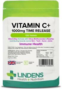 Vitamin C 1000mg With Bioflavonoids And Rosehip 120 Tablets Lindens