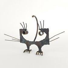 Brutalist Metal Cat Sculpture Abstract Mid Century Iron Heavy Rustic Vtg 10in w