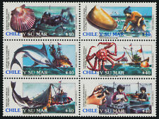 Chile 895 MNH Marine Resources, Fish, Fishing Boats, Shells, Crab