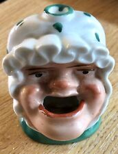 1840's Staffordshire Porcelain Pottery Ink Bottle - Ugly Woman - PERFECT! (G163)