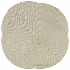 Set of 6 Woven Beige Round Fabric Placemats Dining Table Place Settings Mats