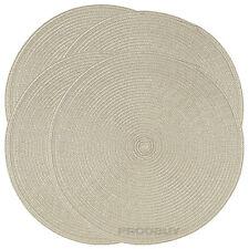 Set di 6 Tessuto Beige ROUND tessuto Tovagliette Tavolo da pranzo coperti Tappetini
