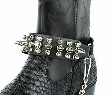 Spike Boot Strap Silver Chains Leather Straps Spikes Gothic Bikers Western  112