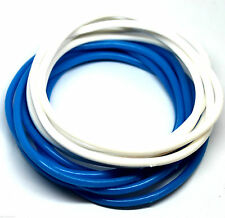 Bracelets Rubber Gummy Blue White Teen Party Bands 12 Pieces