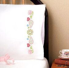 """Tobin Stamped Embroidery Pack 20"""" x 30"""" Pillowcases ~ PAISLEY HEART #232160 Sale"""
