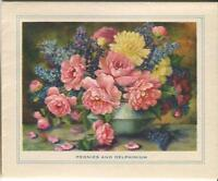VINTAGE BOTANICAL GARDEN FLOWERS PEONIES DELPHINIUMS STILL LIFE ART CARD PRINT