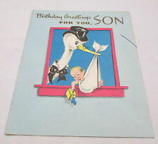 Vintage Happy Birthday Greeting Card Son Forget Me Not USA Stork Baby Wing Moves