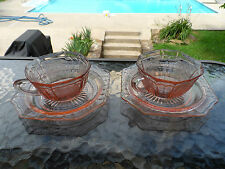 """(2)PINK MAYFAIR """"OPEN ROSE"""" CUPS & 5 3/4 PLATES HOCKING DEPRESSION GLASS 1931-37"""