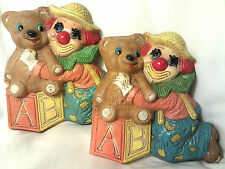 Lot of 2-1985 Frankies Designs-Clown-Block-Bear Wall Decor Plaques-Nursery