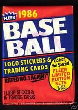 1986 Fleer Baseball Wax Pack Fresh from Box!