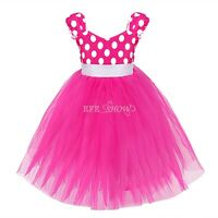 Girls Kids MINNIE MOUSE Tutu Costume Fancy Dress Ears Outfit Party Dance Dresses