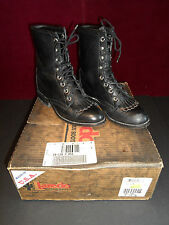 Laredo Black Leather Equestrian Western Paddock Lace-Up Boot Steampunk women 5.5