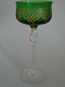 ONE ANTIQUE ROEMER WINE GLASS CRYSTAL  PATTERN TWO COLORS GREEN AMBER