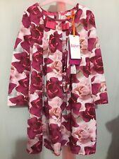 New Girls Designer Ted Baker Pink Floral Porcelain Rose Print Dress Headband 5-6