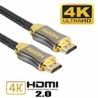 Premium HDMI Cable 2m v2.0 Gold High Speed UltraHD 4k 2160p 3D Ethernet Cable