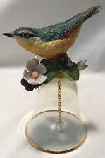 Beautiful Glass Bell With Porcelain Blue Finch Japan Crystal Chime Excellent
