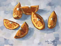 Original Still Life Painting - Six Orange Slices - (9 x 12 inch) by John Wallie