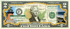 RHODE ISLAND State/Park COLORIZED Legal Tender U.S. $2 Bill w/Security Features