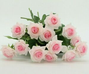 Baby Pink Roses Real Touch Light Pink Flowers Silk Latex Wedding Flowers 10 PCS