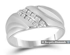 mens diamond .12-carats 10K white gold ring wedding band anniversary business