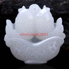 Beautiful Exquisite Chinese White Natural Jade Pendant  Amulet fish