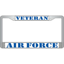 US Air Force Veteran License Plate Chrome Metal Frame - Made in the USA