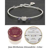 Equilibrium Birthstone Bangle June Alexandrite/Lilac Pretty Bracelet Jewellery