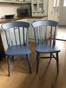 Pair Of Solid Wood Slat Back Farmhouse Chairs