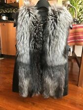 Woman real fox fur leather vest XL size, 100% real new no tag