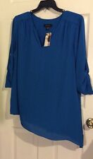 Karen Kane Plus Size 1X Aquamarine Tunic Blouse, 3/4 Sleeves, Polyester, NWT