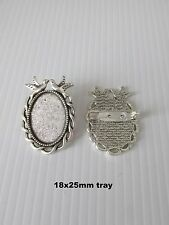 5x antique silver brooch cabochon bezel settings + glass jewellery making craft
