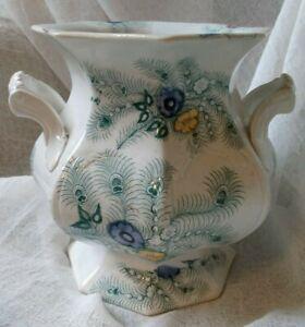"Staffordshire transferware green & polychrome sugar bowl, ""Feather"" pattern"