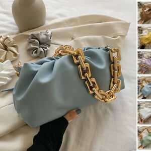 2 Strap Small Ruched Chunky Gold Chain Pouch Clutch Shoulder Bag Crossbody Purse