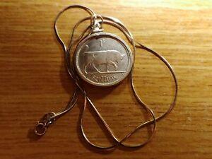 "Rare 1928 Irish Silver Coin Pendant Antique on a 18"" 925 Italian Snake Chain"