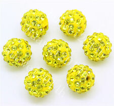 15pcs Yellow Czech Crystal Rhinestones Pave Clay Round Disco Ball beads 10mm