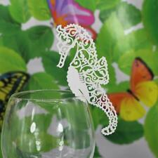 50x Luxury Laser Cut Christmas Sea Horse Glass Place Cards Pearlscent Decor